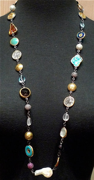 ARA 24K Collection Large Gypsy Multistone Necklace in Pure Gold and Oxidized Silver