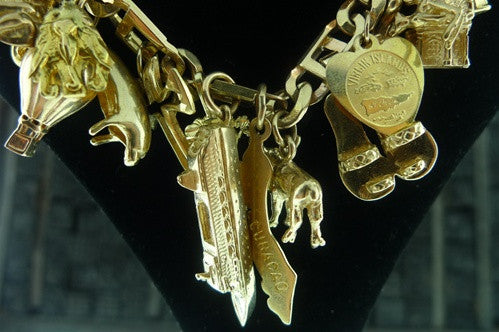 Estate 14K Yellow Gold Charm Bracelet