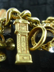 Heavy and Resplendent Vintage Estate Charm Bracelet in 14K Yellow Gold