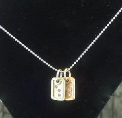 Julez Bryant 14K Yellow and White Gold with Diamond Dog Tag Charm Necklace