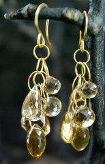 Melissa Joy Manning 14K Yellow Gold and Faceted Citrine Drop Earrings