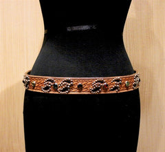 B-Low the Belt Western Basketweave Tooled and Studded Western Belt with Multi Colored Crystals