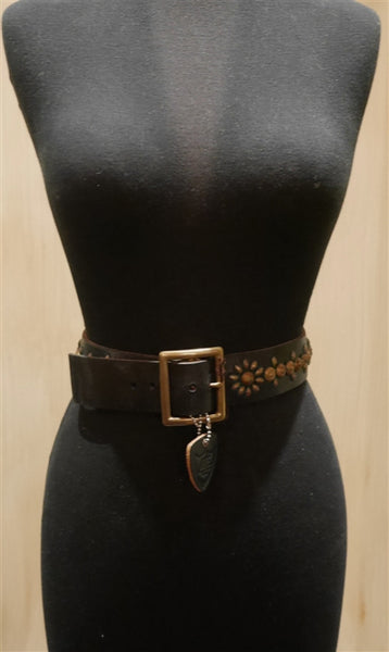 Hollywood Trading Company Turquoise and Gold Jeweled Brown Leather Belt