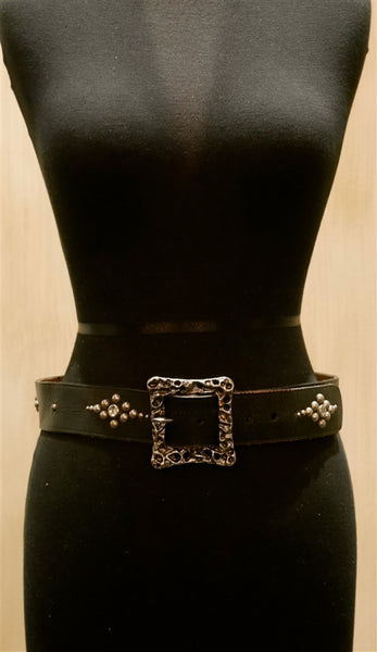 B-Low The Belt Silver Studded Square Buckle Black Belt
