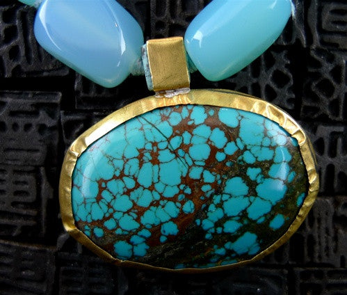 Nava Zahavi 24K Yellow Gold and Peruvian Opal Necklace and Turquoise Pendant