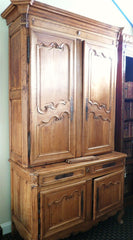Antique French Walnut and Pine Armoire/ Chest on Chest