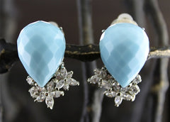 Siman Tu Faceted Blue Stone and Crystal Clip Earrings