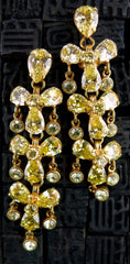 Siman Tu Canary Yellow CZ Chandelier Drop Earrings