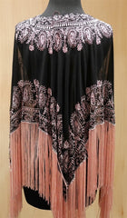Tanja Pignatelli Silk Fringe Beaded Poncho