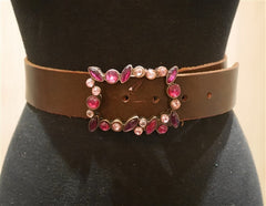 Continental Leather Fashion Pink Jeweled Buckle and Brown Belt
