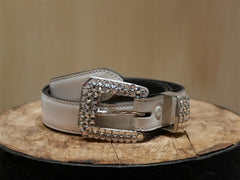 Continental Leather Fashion White Jeweled Skinny Belt