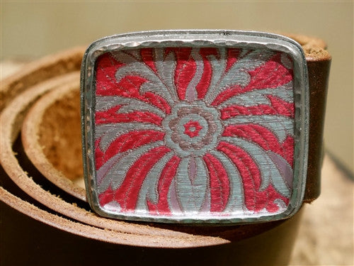 Presh Fabric Fragment in Red and Silver Buckle Belt