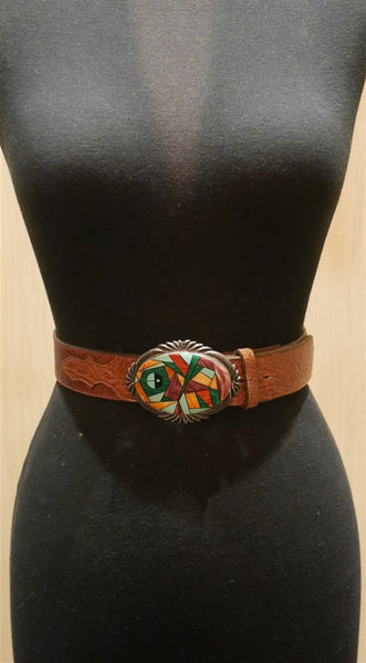 Navajo Native Stone Inlaid Sterling Silver Buckle and Belt
