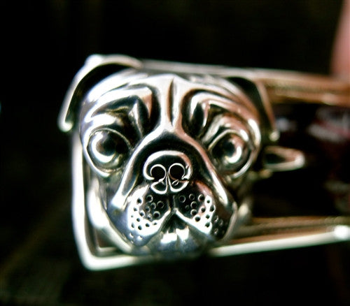 Marisa Perry Sterling Silver Pug and Alligator Strap Dog Collar