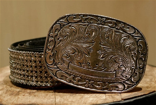 Streets Ahead Swarovski Crystal Belt with Blackened Embossed Western Buckle