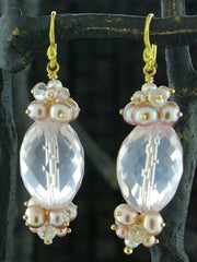 Gabrielle Sanchez 18K Yellow Gold and Rose Quartz and Pearl Earrings