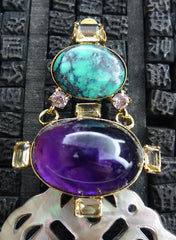 Iradj Moini Earclips of Amethyst, Citrine, Turquoise, and Abalone