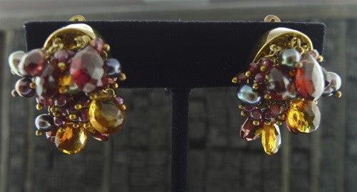 Alexis Bittar Ruby & Citrine Cluster Earrings
