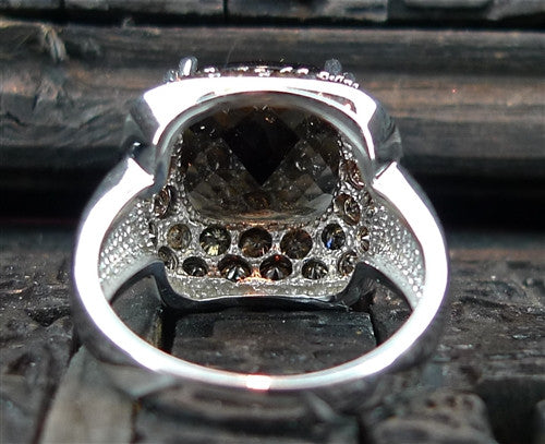 Cushion Cut Smoky Quartz Ring with Cognac Diamonds in 14K White Gold
