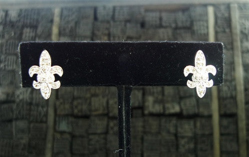 Sydney Evan Fleur de Lis Diamond Earrings in 14K White Gold