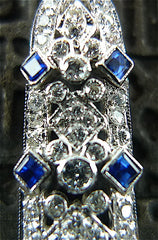 Estate Art Deco Era 18K White Gold, Diamond and Blue Sapphire Earrings