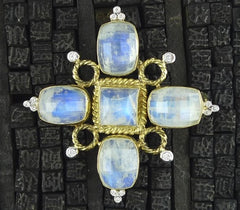 Mazza  14K Yellow Gold and Moonstone w Diamond Brooch/Pendant