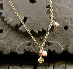 Lisa Stewart Pink Coral and Charm Necklace