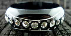 Erickson Beamon Ice Age Bangle Bracelet in Black Resin with Swarovski Crystals