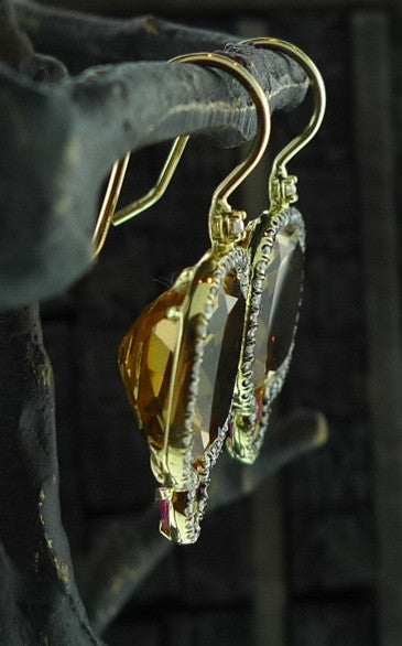 Jemma Wynne Whiskey Quartz, Pink Sapphire and Diamond Earrings in 18K Gold