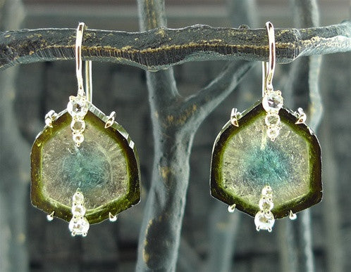 Jemma Wynne 18K Tourmaline Slice Drop Earrings w/ Rosecut Diamonds