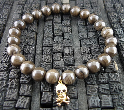 Sydney Evan Diamond Skull Charm Stretch Bracelet of Brown Jasper in 14K Yellow Gold