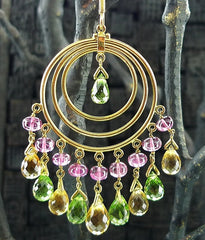 Amrapali 18K Yellow Gold Earrings with Pink Tourmaline, Citrine, Peridot
