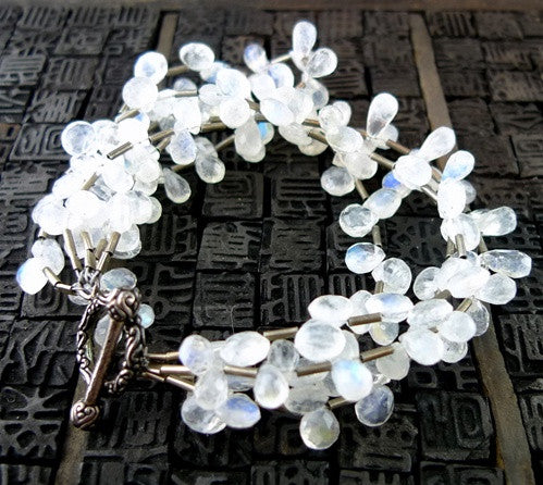 Moonstone and Sterling SIlver Multi Strand Bracelet