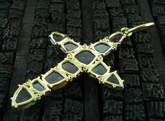 Jemma Wynne 18K Yellow Gold and Bicolor Watermelon Tourmaline Cross Pendant
