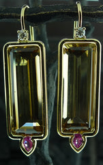 Jemma Wynne 18k Yellow Gold with  Emerald Cut Citrine and Pink Tourmaline Earrings