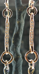 Federica Rettore Diamond Briolette Drop Earrings in 18K Rose Gold and Silver