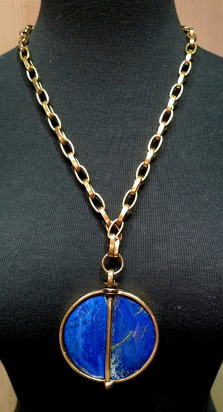 Paige Novick Lapis Lazuli Pendant on Open Link Chain Necklace