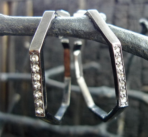 Paige Novick Octagonal Hoop Earrings with Crystals