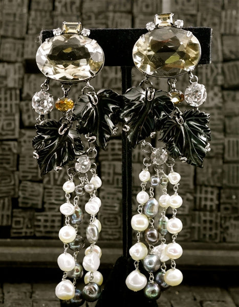 Iradj Moini Onyx, Pearl, and Citrine Leaf Clip On Earrings