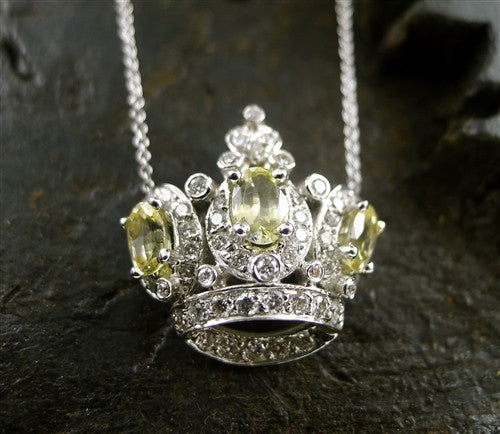 Jude Frances Diva Crown Necklace with Yellow Sapphires and Diamonds in 18K White Gold