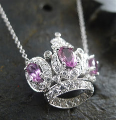 Jude Frances Diva Crown Necklace with Pink Tourmalines and Diamonds in 18K White Gold