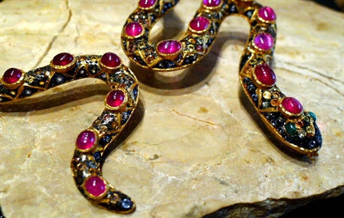 Royal Imports Ruby Snake Necklace with Multi-Colored Sapphires