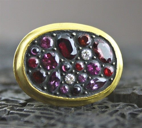Yossi Harari Red Sara Ring 24 K Yellow Gold, Blackened Silver, Pink Sapphires, Rubies