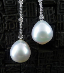South Sea Pearl and Diamond Drop Earrings in 18K White Gold