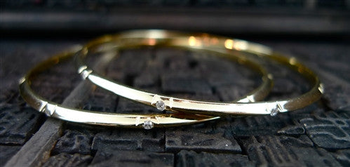 Diamond Stations Bangle Bracelet in 14K Yellow Gold