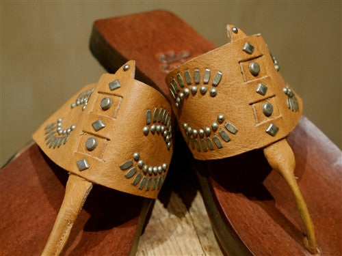 "Calleen Cordero ""Maite"" Studded Natural Tan Sandals"