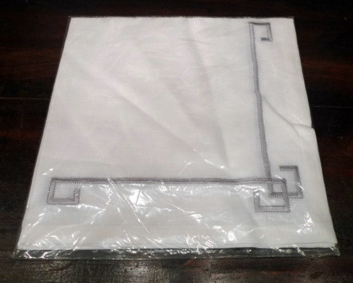Kim Seybert Silver Embroidered Greek Key Design on White Napkin