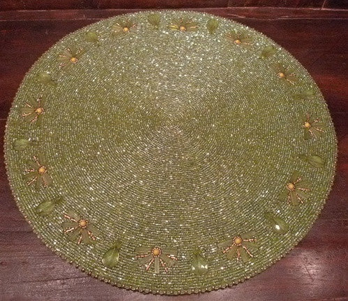 Kim Seybert Crystal Jewel Embellished Beaded Gold Place Mat