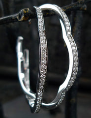 Ron Hami 18K White Gold and Diamond Flower Hoop Earrings