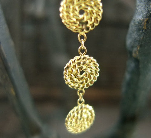 Drop Earrings of Circular Discs in 14K Yellow Gold